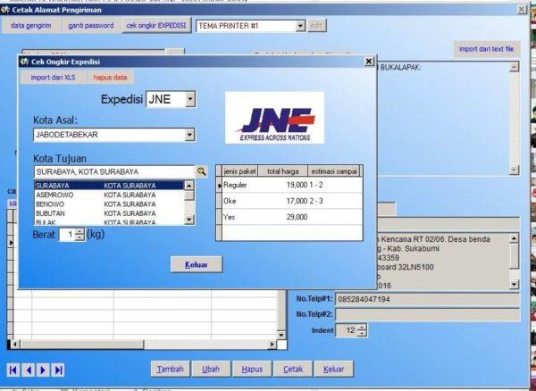 Aplikasi Bisnis Online Cetak Alamat